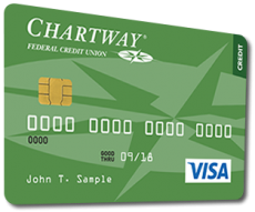 Chartway Federal Credit Union VISA credit card in green
