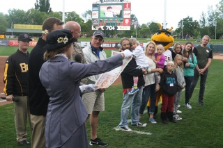 Utah Bees — onfield presentation with Chartway and Make-A-Wish