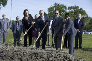 Chartway executive team breaking ground on new modern branch.