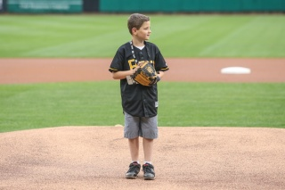Adrian on the mound at the Salt Lake Bee's game