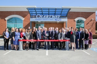 Representatives of Chartway FCU and Virginia Beach government business and organizations cut the ribbon for the 100 Lynnhaven Parkway branch