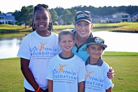 LPGA Player, Brooke Pancake, with We Promise Foundation Heroes Destiny, Aiden, and José at the We Promise Foundation's 19th Annual Charity Golf Classic