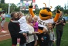 Utah Bees game — onfield presentation with Chartway and Make-A-Wish