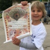 Hazel shows Make-A-Wish proclamation — Utah Bees game with Chartway and Make-A-Wish